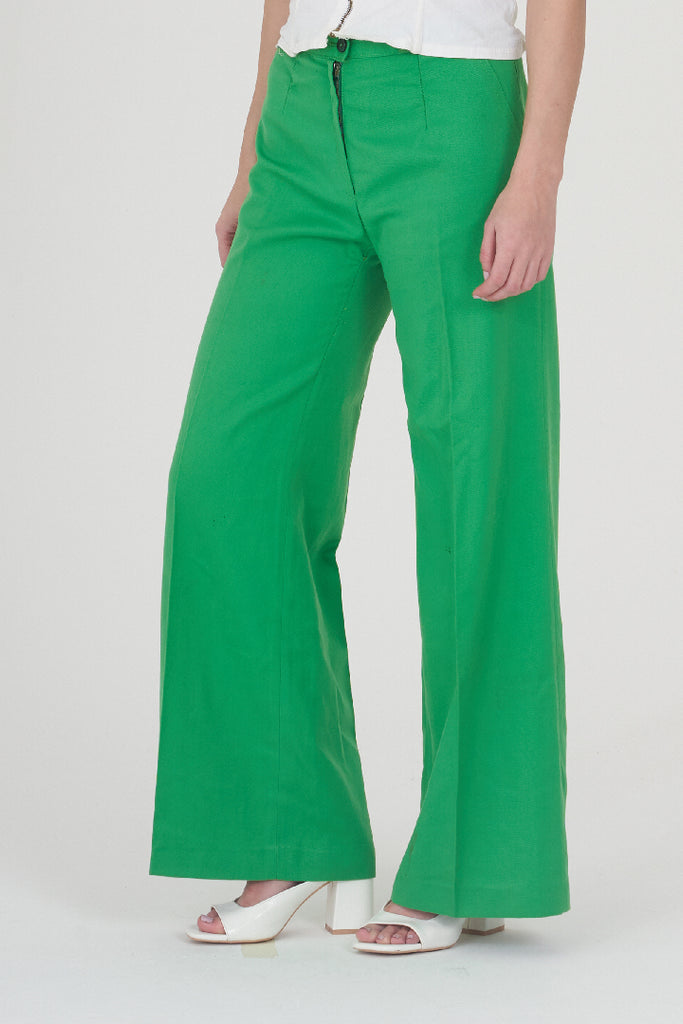 Vintage 70s Apple Green High Waisted Flare Trousers