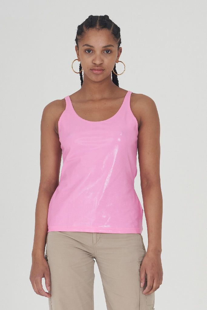 Vintage Early 90s Versace Hot Pink Patent Snakeskin Tank Top