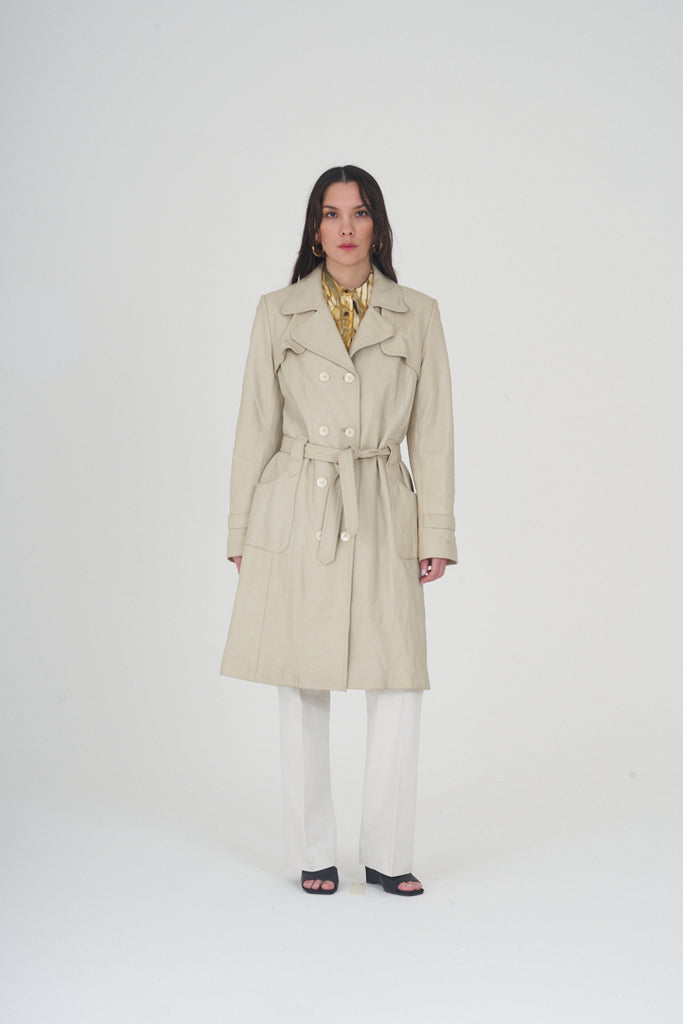 Vintage 90s Cream Mid Length Leather Trench Coat