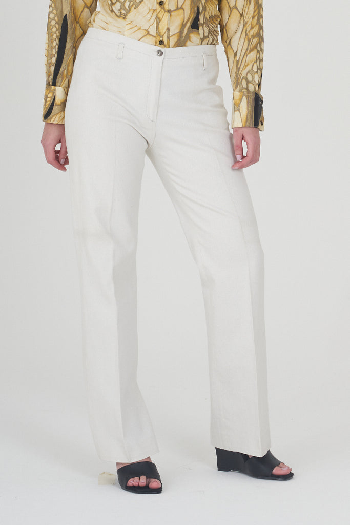 Vintage 90s Low Rise Beige Gold Shimmer Trousers