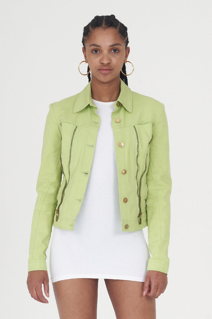 Vintage 90 's Neon Green Zip Detailed Denim Jacket
