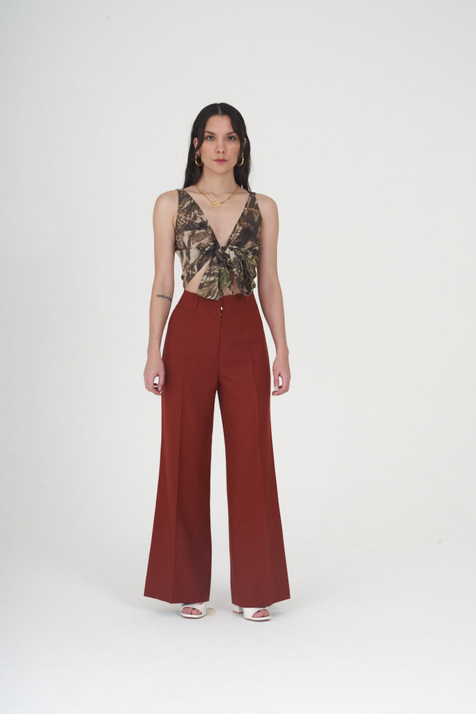 Vintage High Waisted burnt Orange 70's Flare Trousers