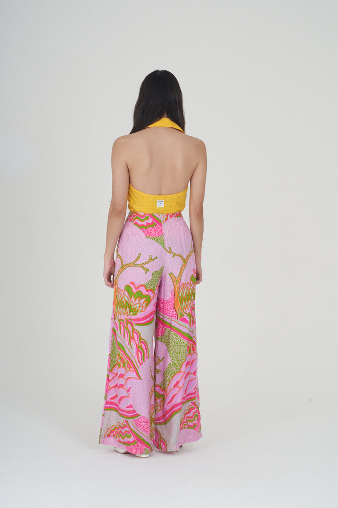 Vintage 70's Hot Pink Print Wide Leg Silk Trousers