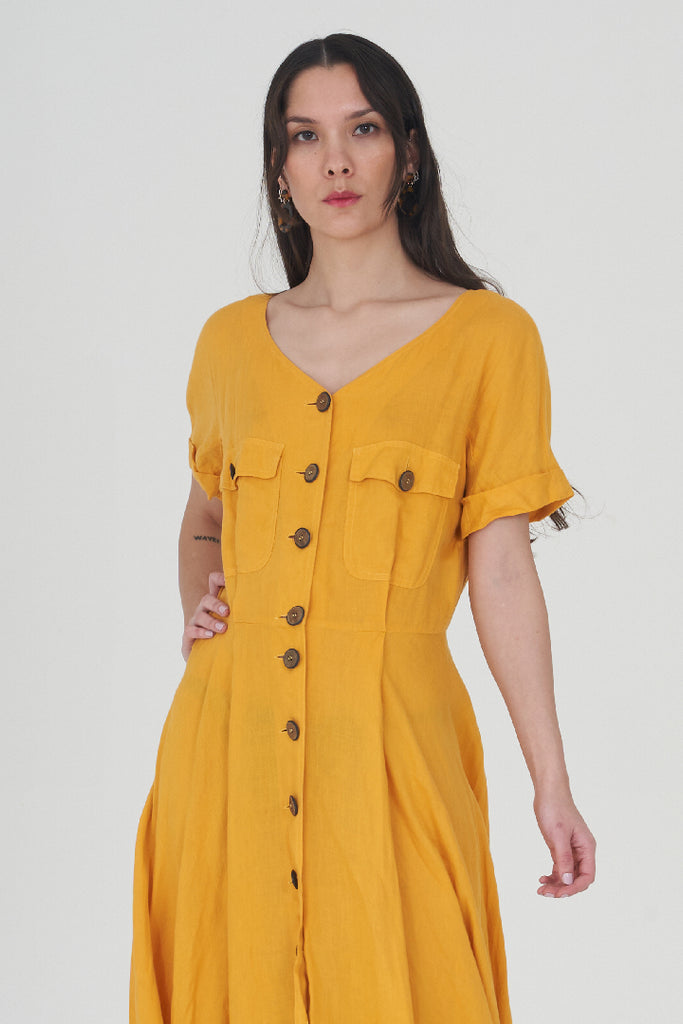 Vintage Yellow 90's MaxMara Maxi Tea Dress