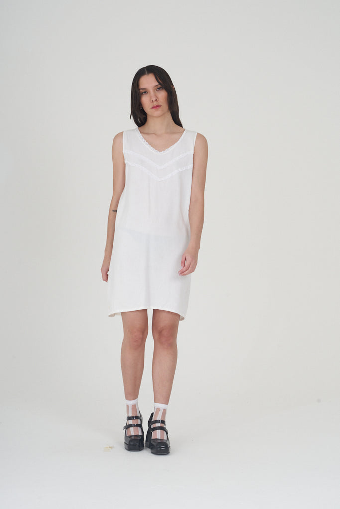 Vintage 70's White Cotton Mini Dress