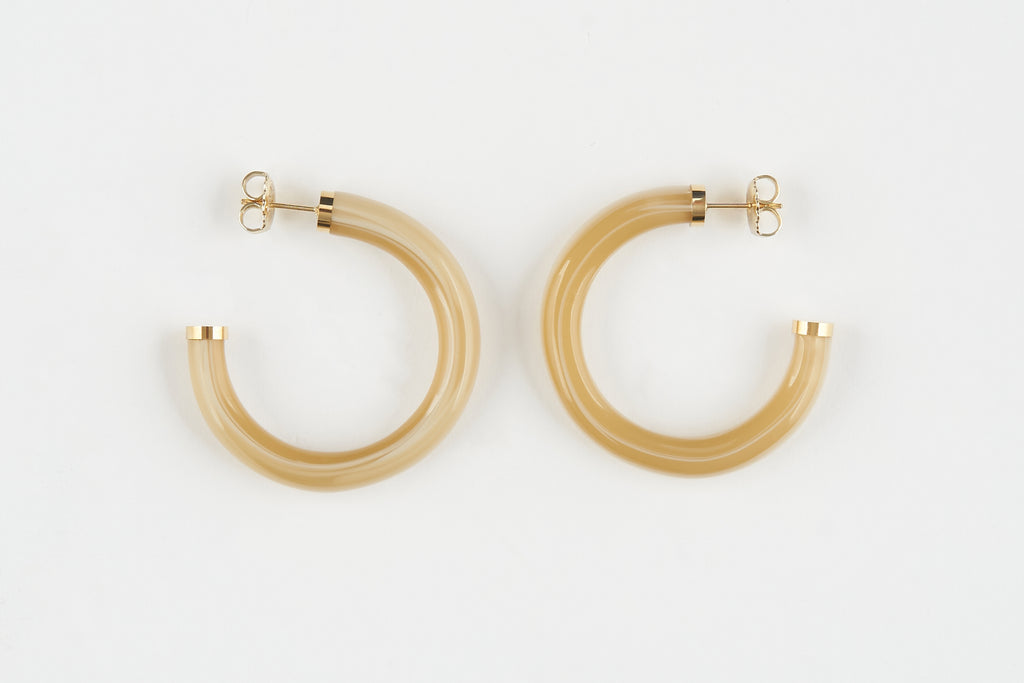 Premium Tortoise Hoop Earrings with Gold  Caps