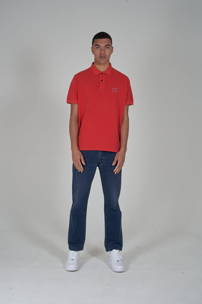 2000s Stone Island red polo t-shirt
