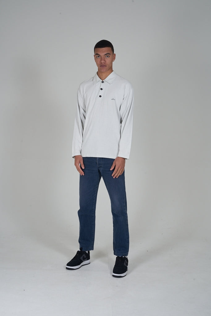 Vintage 90's Stone Island off white button up long sleeve polo shirt