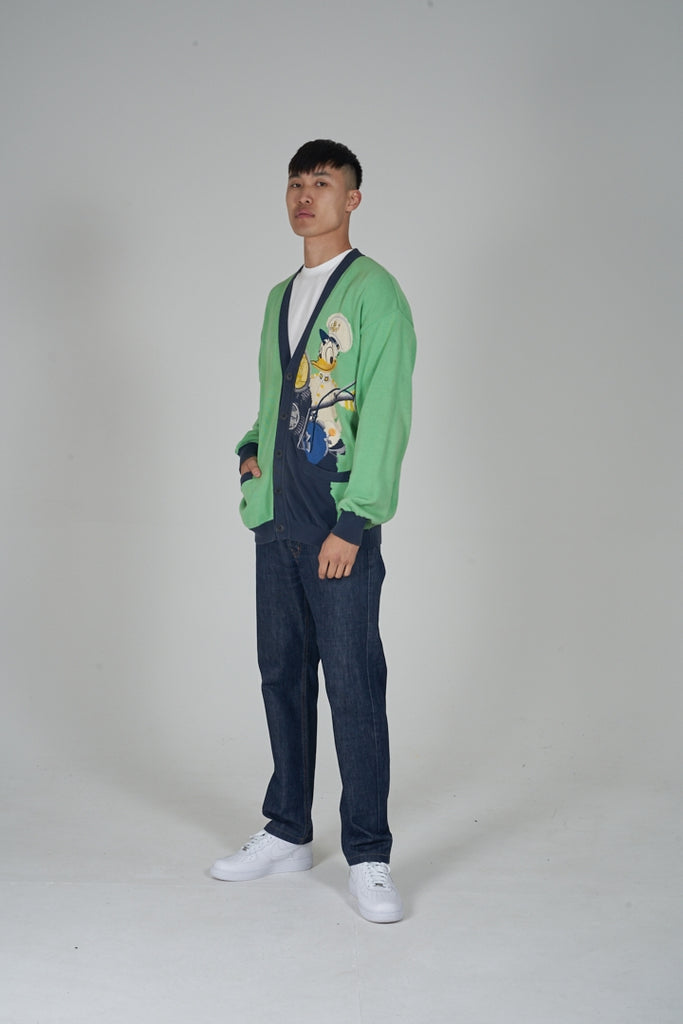Vintage 90's Iceberg Donald Duck lime green cardigan