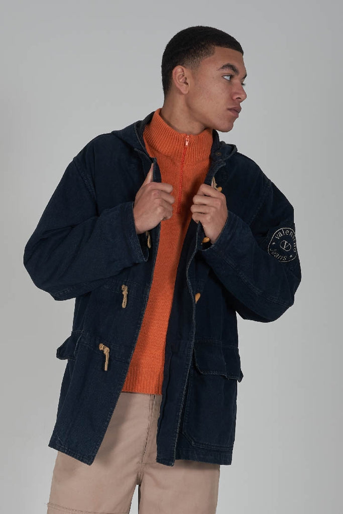 Vintage 80's Valentino denim hooded duffle coat