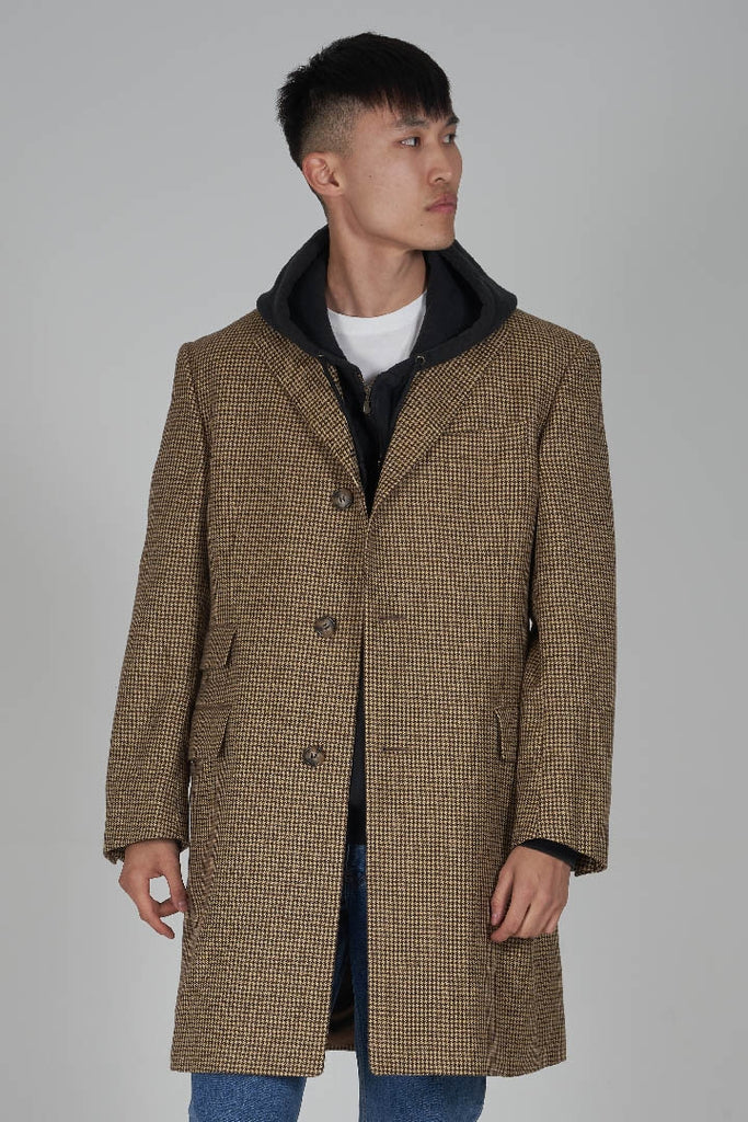 Vintage 90s Burberry check print wool overcoat