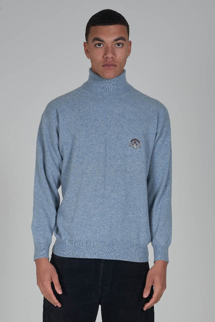 Vintage 90's Iceberg 'Ice Peace' logo powder blue roll neck