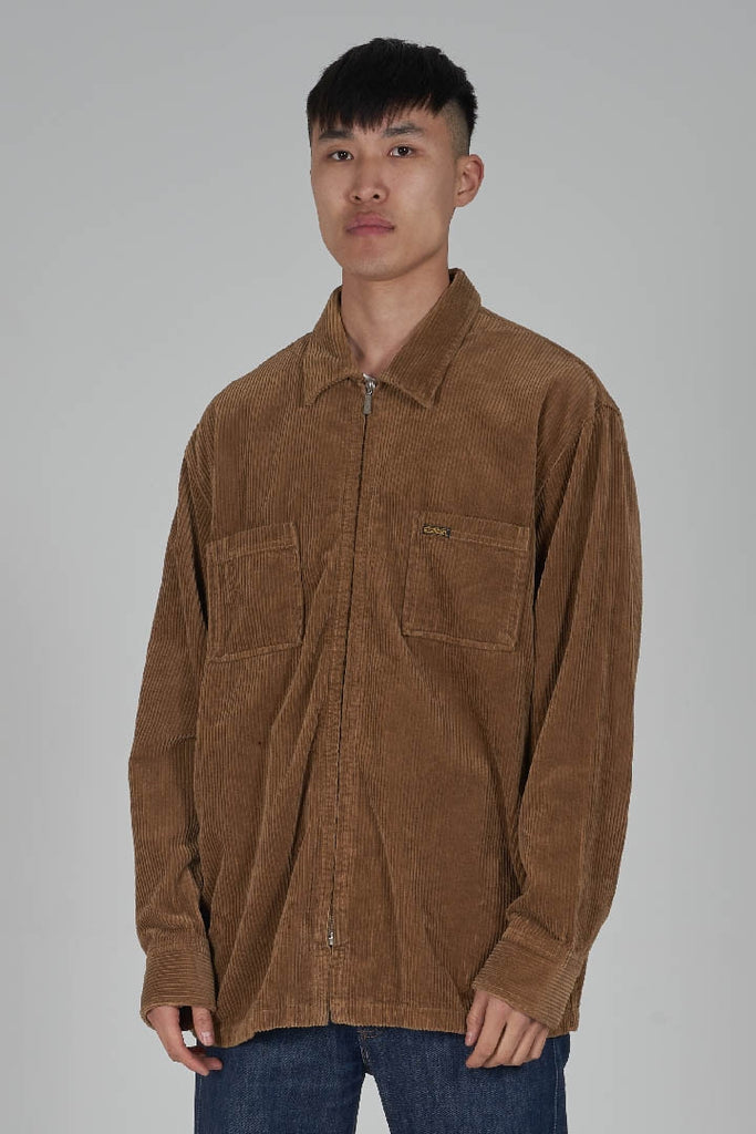 Vintage 90's Diesel brown zip up corduroy workman shirt