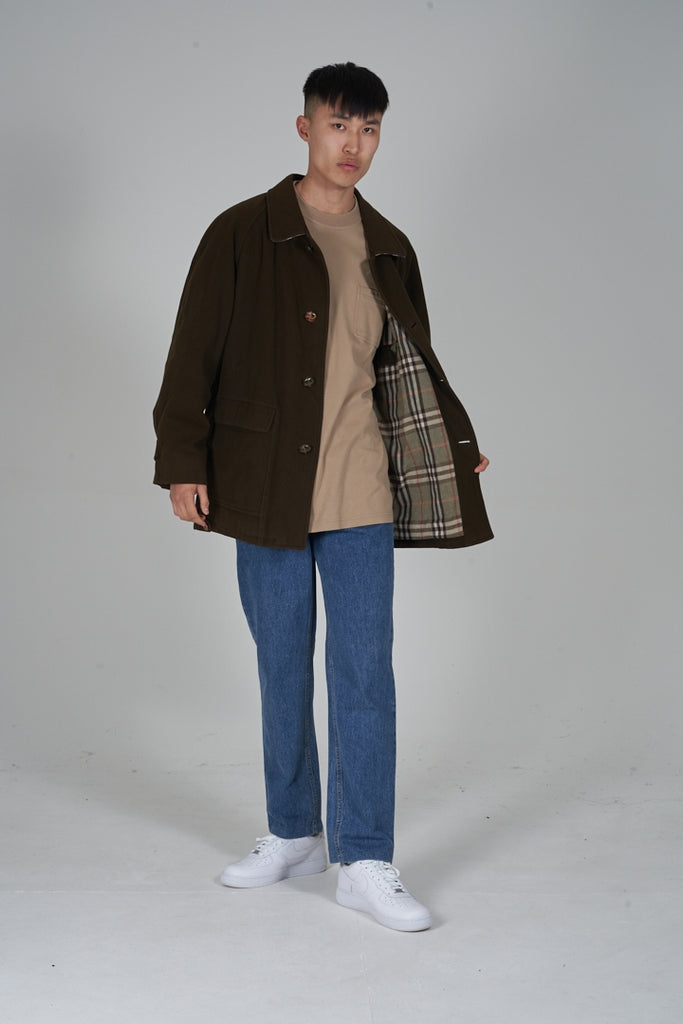 Vintage 90's Burberry khaki green wool jacket