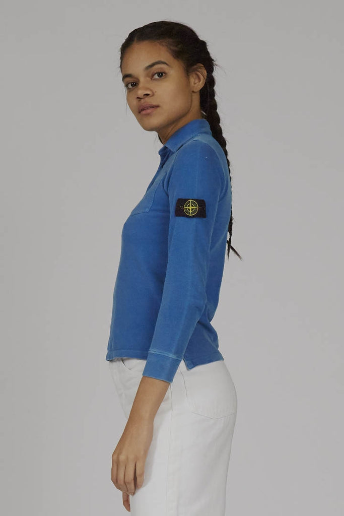 2013 Stone Island cobalt blue Stone Island long sleeved polo t-shirt
