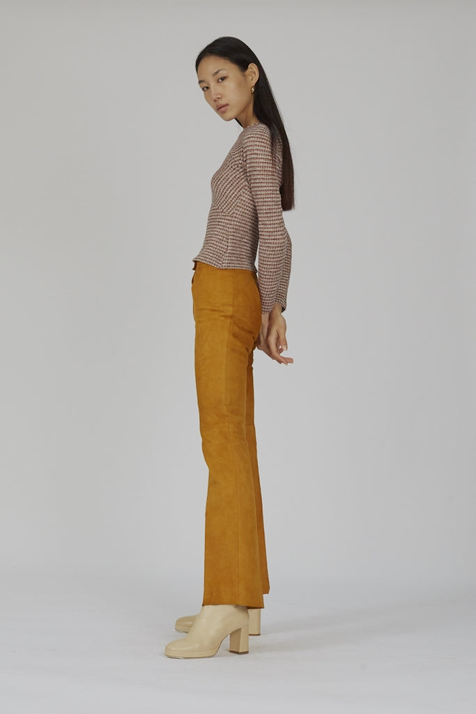 Vintage premium high waisted camel 70's flared suede trousers