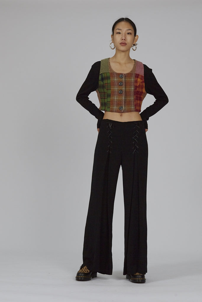 Vintage 90's Luisa Spagnoli wide leg black high waisted trousers