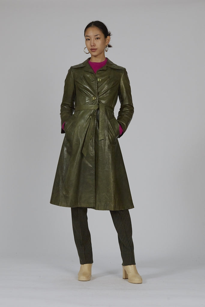 Vintage 70's maxi moss green soft touch leather coat
