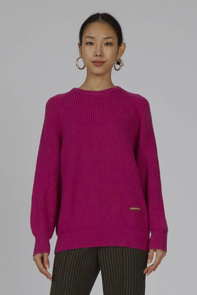 Vintage hot pink ribbed 80's Australian ribbed wool sweater