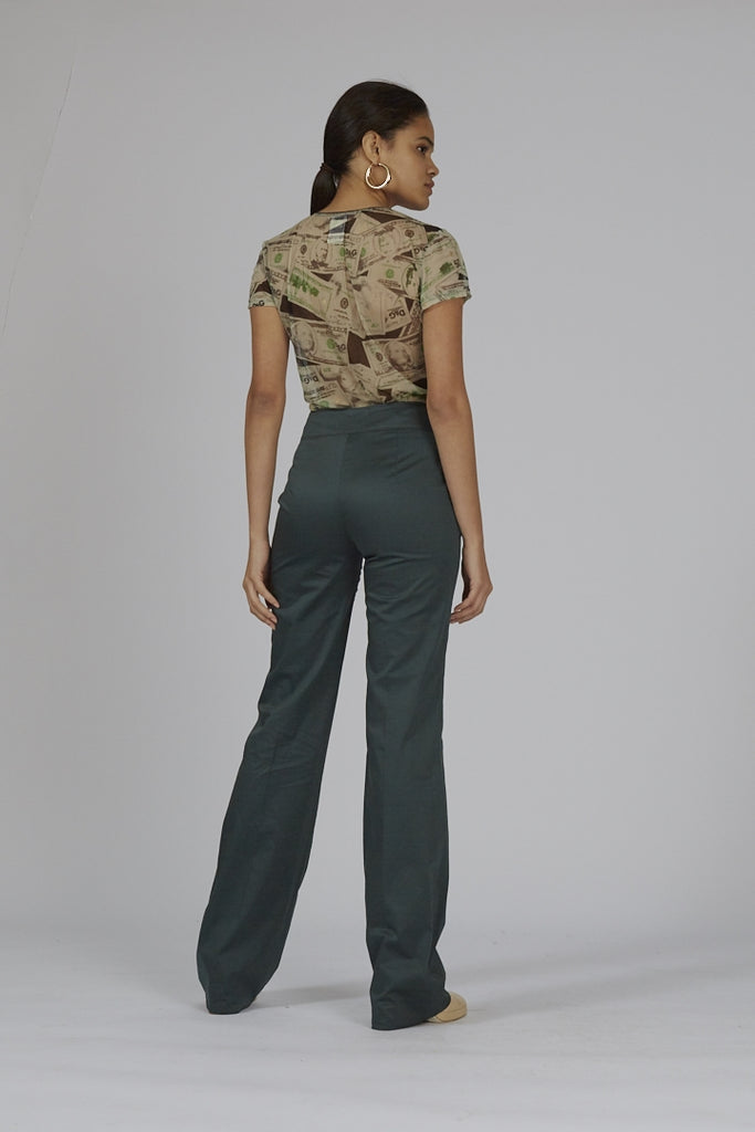 Vintage green high waisted flared 90's Iceberg trousers
