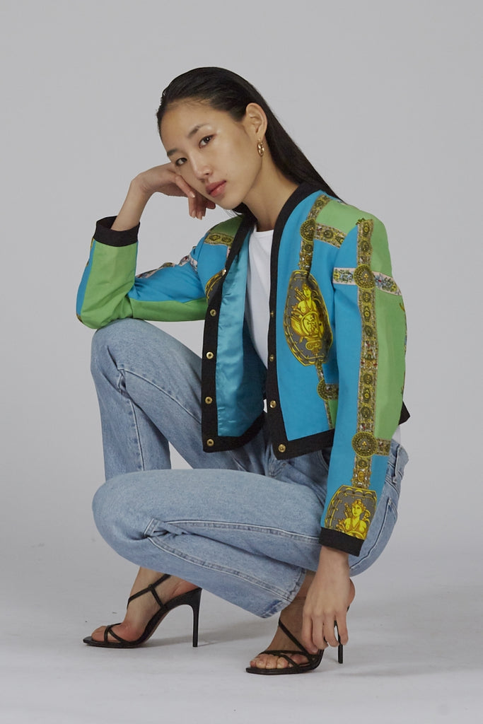 Vintage 1992 Fall/Winter Versace Multi colour Barocco print jacket