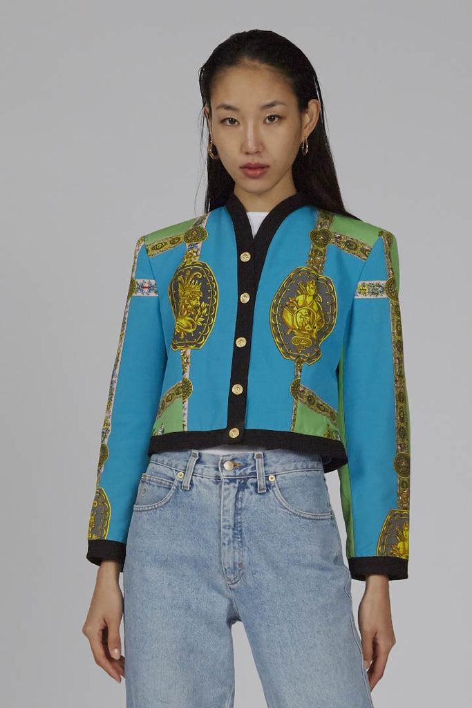 Vintage Early 90s Versace Multic colour Barocco print jacket