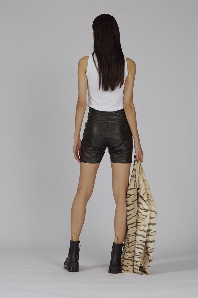 Vintage 90s black high waisted leather shorts
