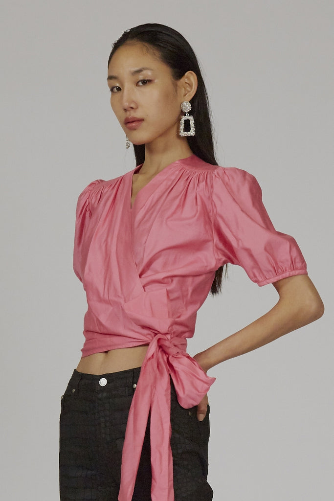 Vintage YSL 80's hot pink puff sleeve wrap blouse