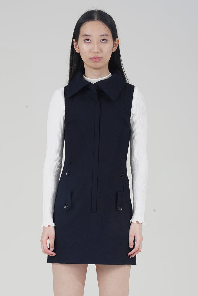 Vintage 90's Patrizia Pepe Navy Blue  Wool Dress