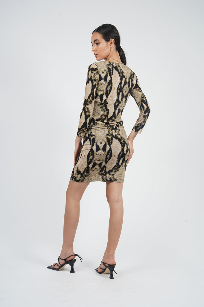 Vintage 90's Just Cavalli Snake Print Square Neck Dress