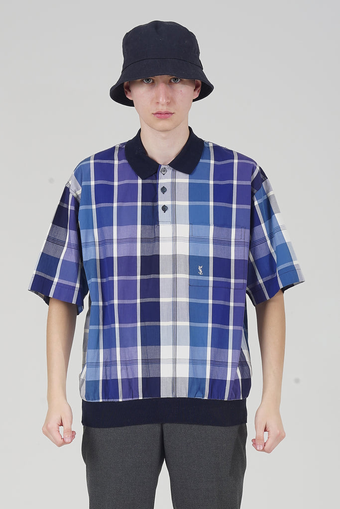 Vintage 90's Purple Checked YSL Bowler Shirt