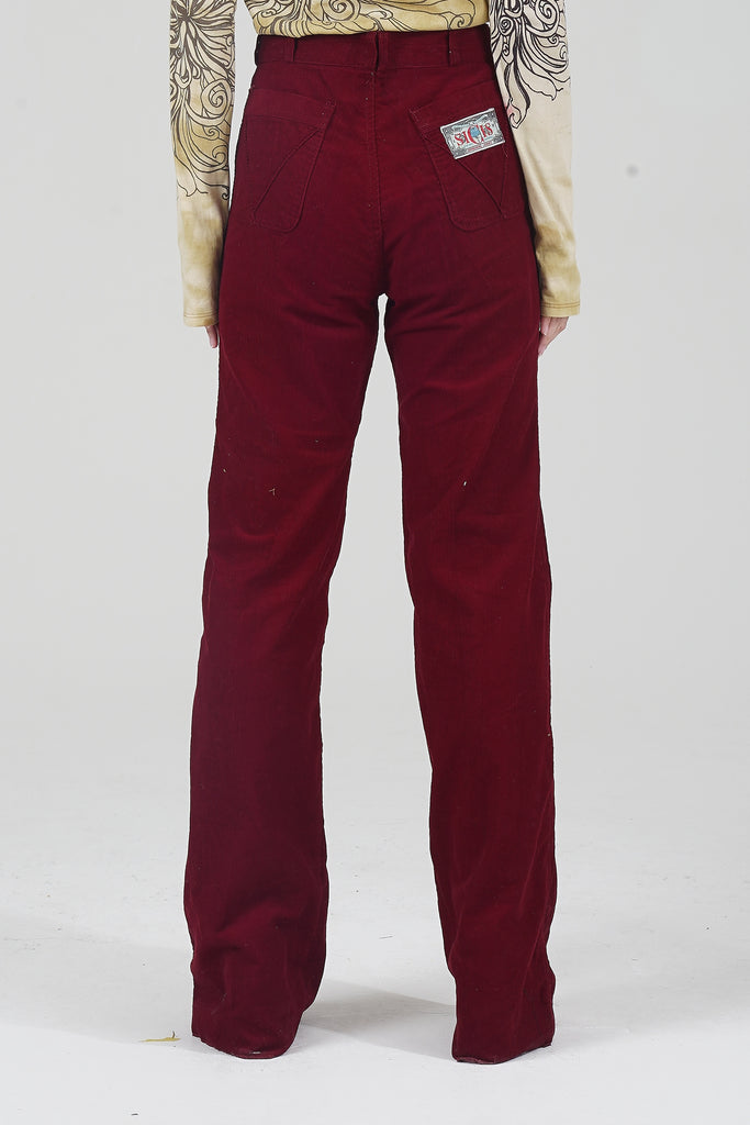 Vintage 70s High Waisted Wine Red Corduroy Flared Trousers