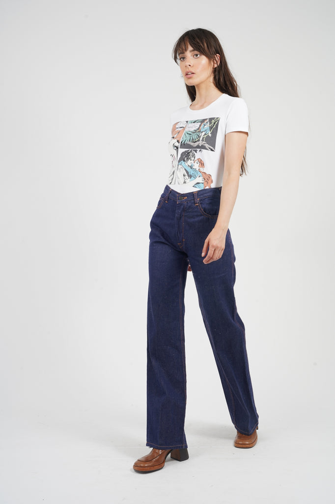 Vintage 70's Contrast Stitch High Waisted Jeans