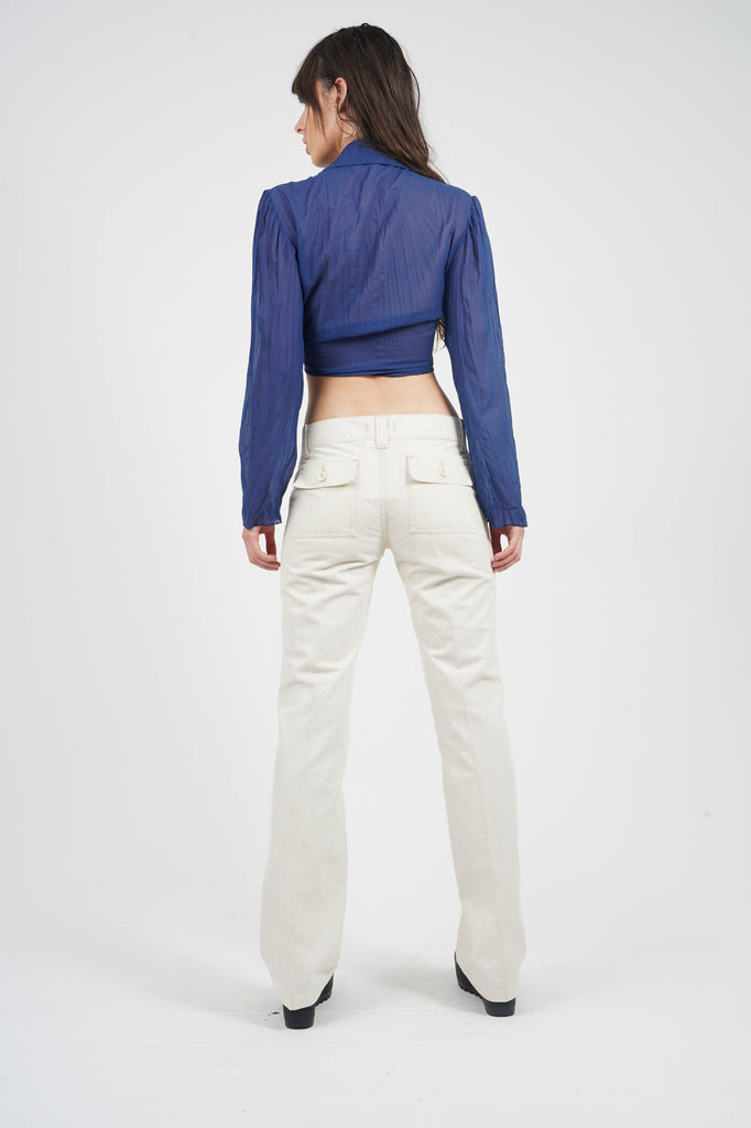Vintage 90's Replay White Ribbed Corduroy Flare Trouser