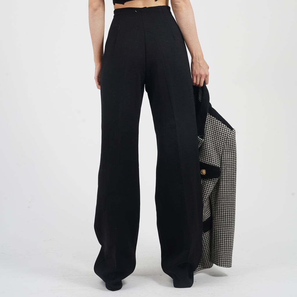 Vintage 90's Fendi Black High Waisted Wide Leg Trousers
