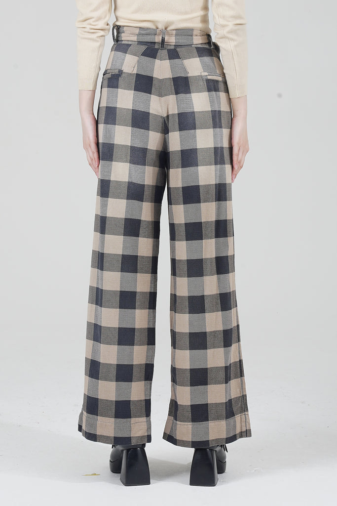 Vintage 2000 Pleated Front Wide Leg Checked Trouser