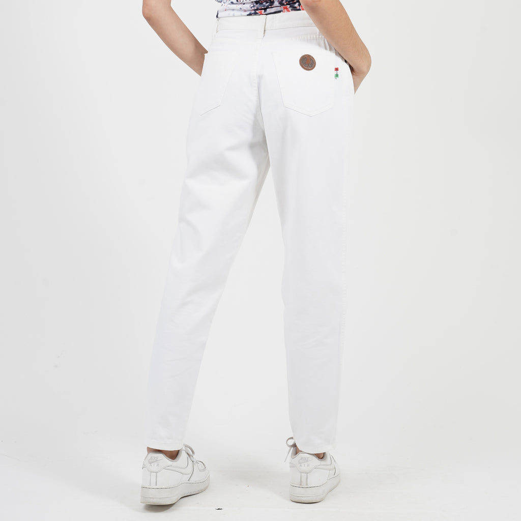 Vintage 90's Moschino High Waisted White Jeans