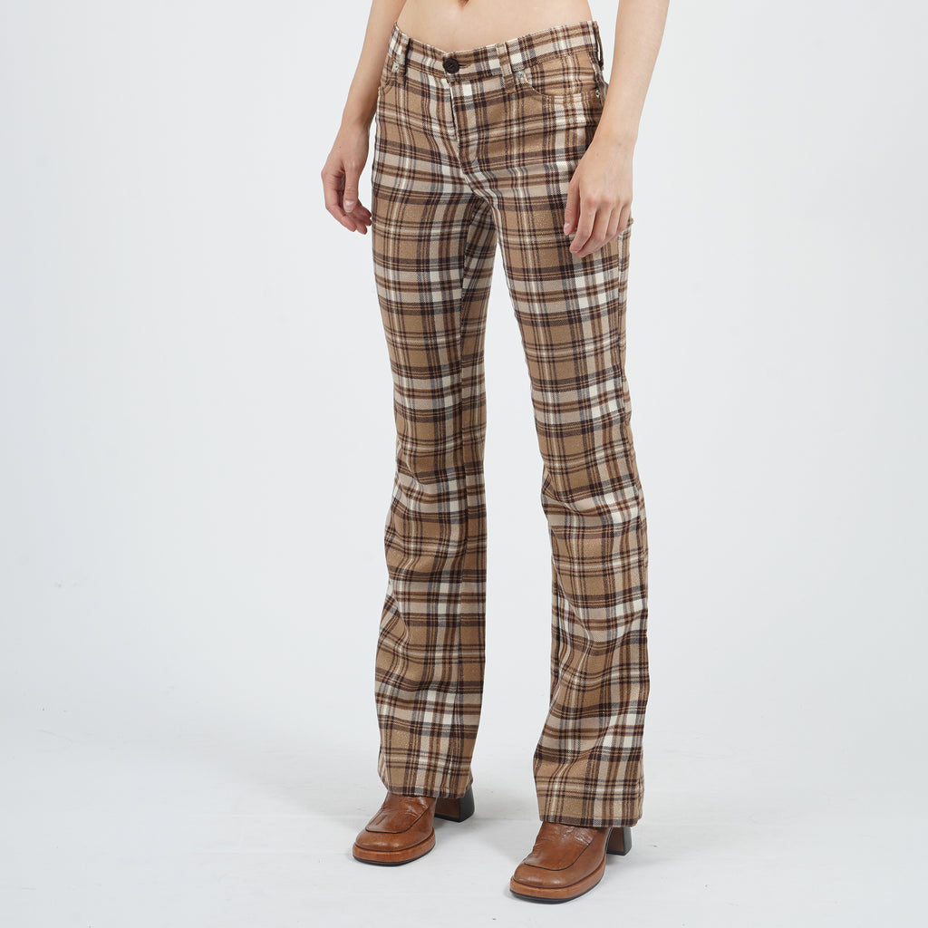 Vintage 90's Moschino Two Tone Checked Print Flared Trousers