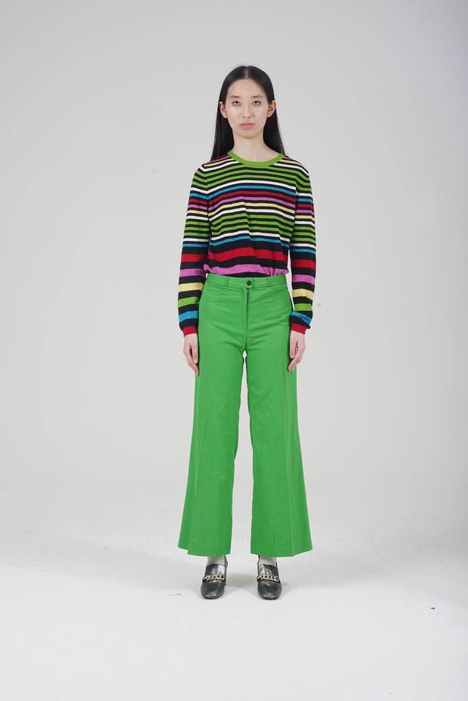 Vintage 70s Green High-Waist Flared Trousers