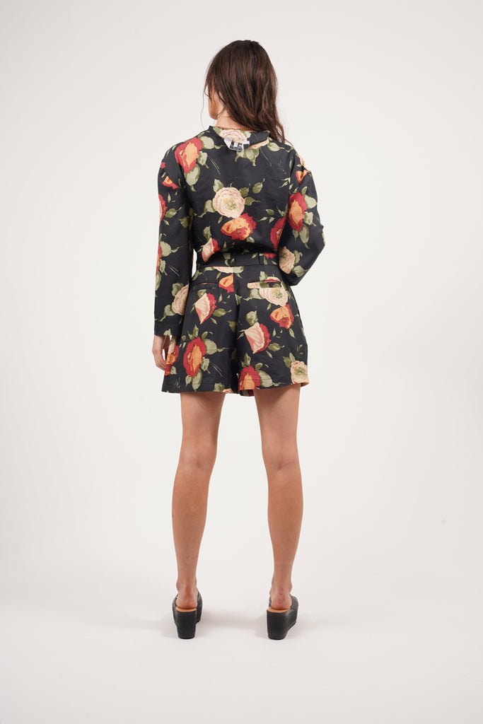 Vintage 90's Satin Print Flower Shorts Co-ord