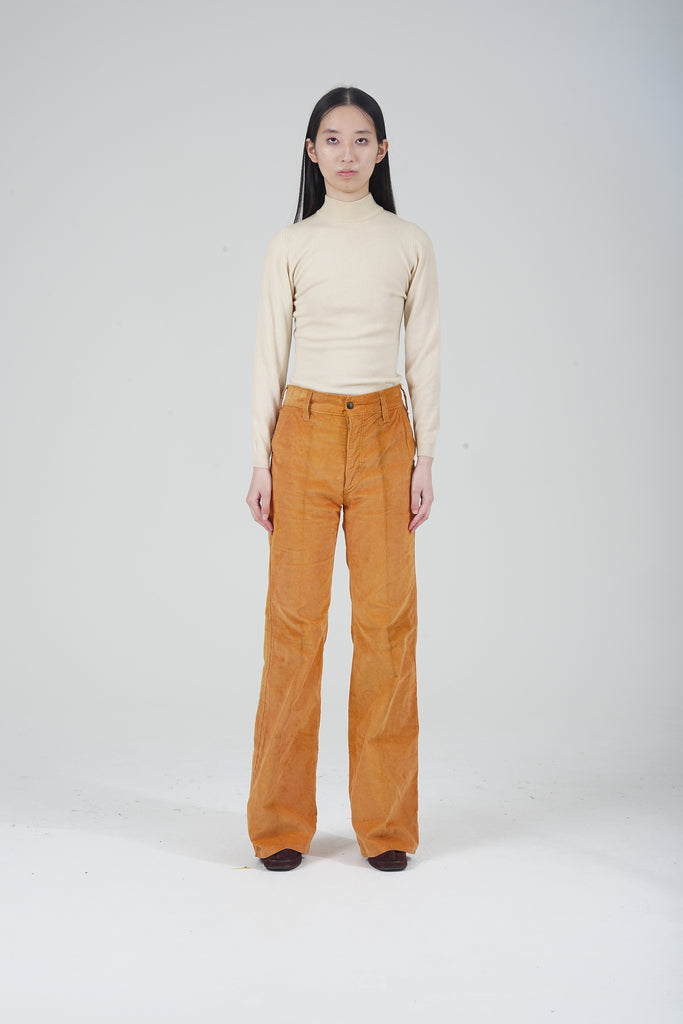 Vintage 70's High Waisted Mustard Yellow Flare Corduroy Trousers