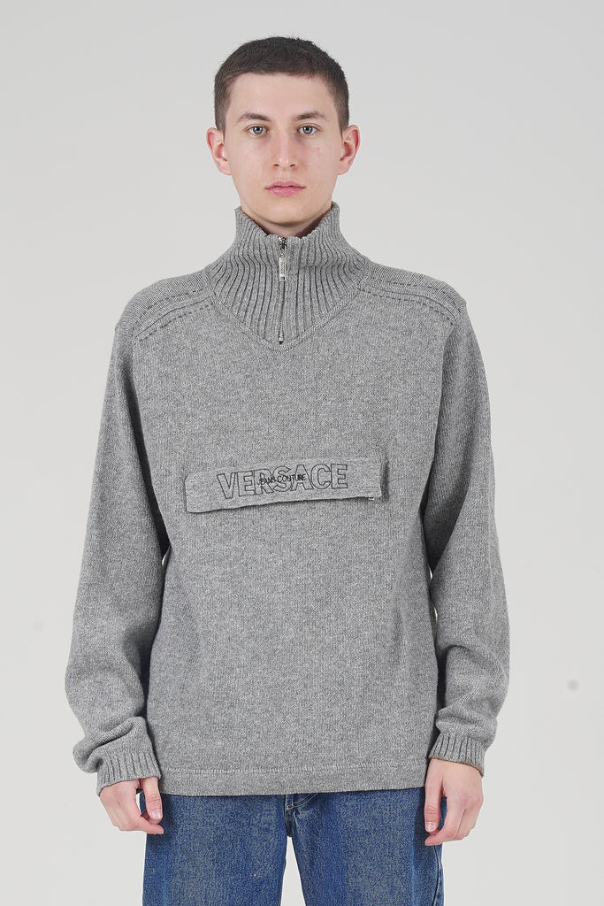 Vintage 90's Grey Versace Couture Logo Jumper