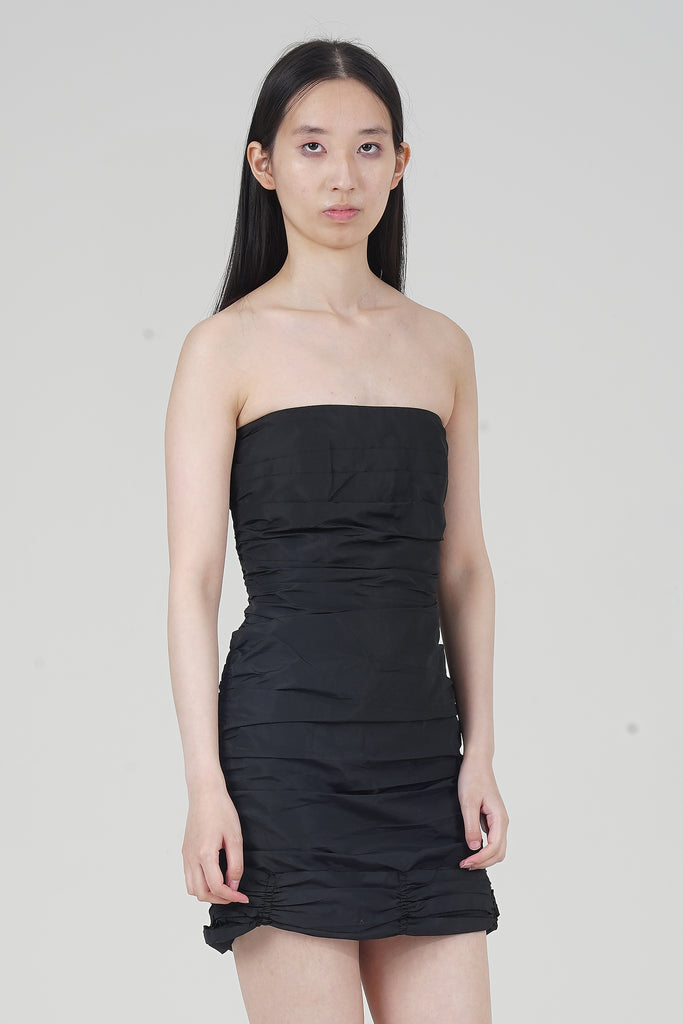 Vintage 2000 Miu Miu Black Ruched Strapless Mini Dress