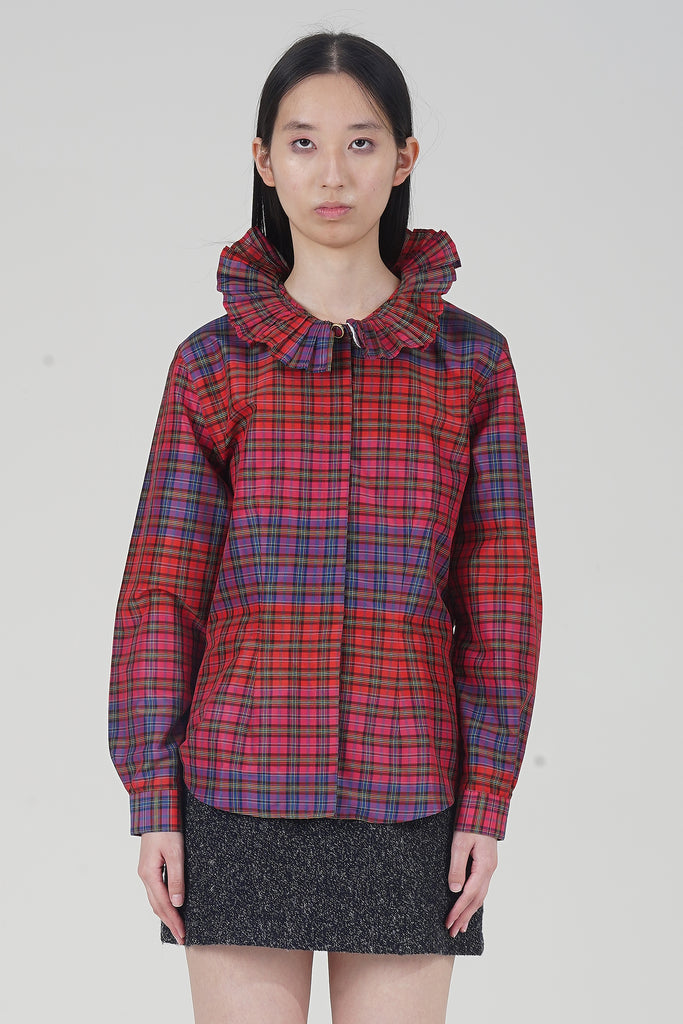 Vintage 2000's Red Tartan Pleated Collar Shirt