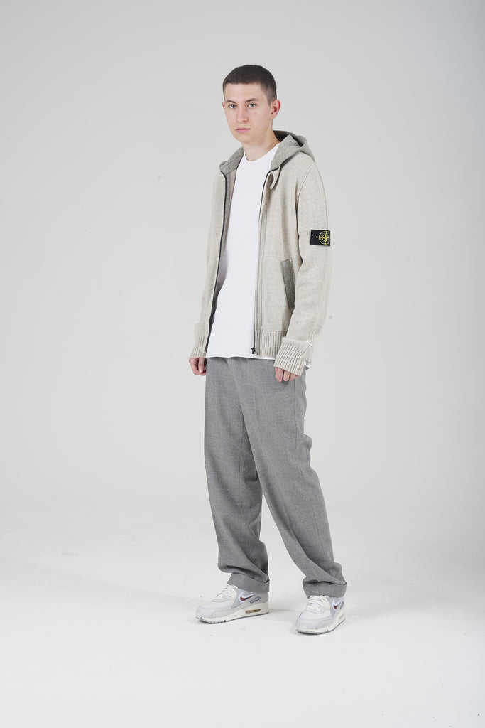 2011 Marl Grey Stone Island Wool Zip Up Hoodie