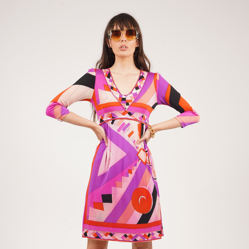 Vintage late 60's Emilio Pucci Geometric Signature Midi Silk Dress