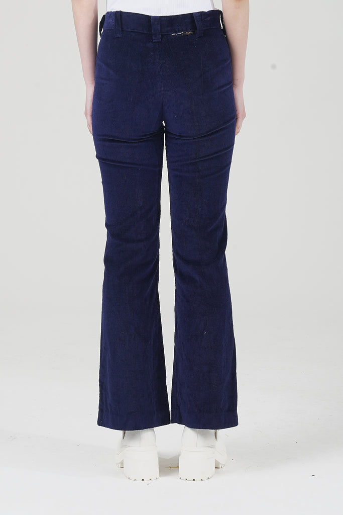 Vintage 70's Blue Velvet High Waisted Flare Trousers