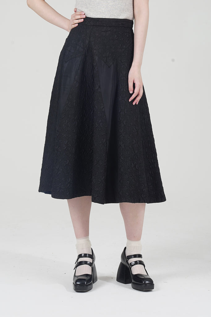 Rare 1940's Satin Engraved A Line Black Midi Skirt