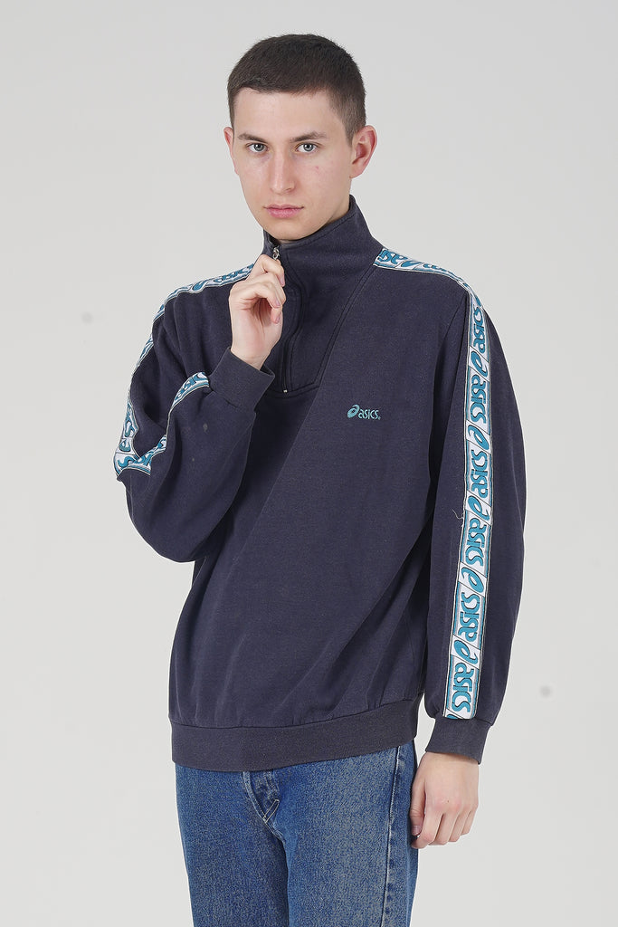 Vintage 90's Asics Quarter Zip blue Sweater