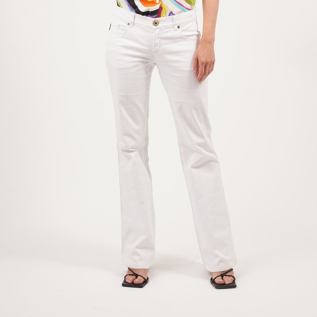 Vintage 90's white ribbed Moschino flared Jeans